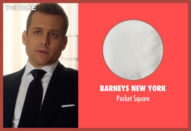 Barneys New York white square from Suits seen with Harvey Specter (Gabriel Macht)