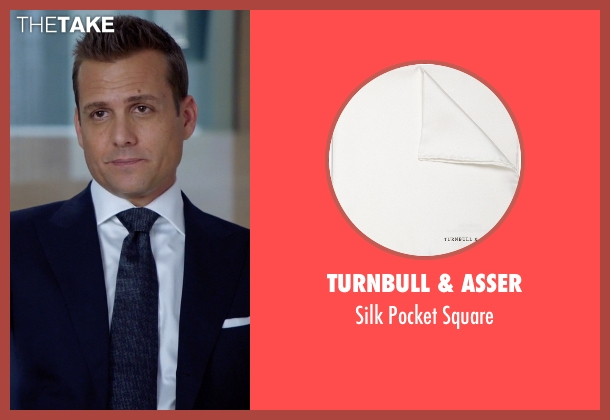 Turnbull & Asser white square from Suits seen with Harvey Specter (Gabriel Macht)