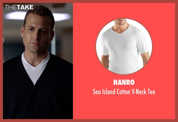 Hanro white tee from Suits seen with Harvey Specter (Gabriel Macht)