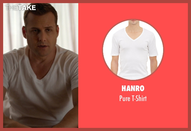 Hanro white t-shirt from Suits seen with Harvey Specter (Gabriel Macht)