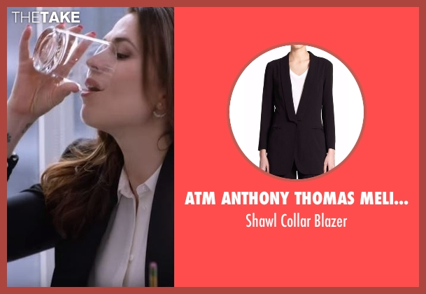 ATM Anthony Thomas Melillo black blazer from Conviction seen with Hayes Morrison (Hayley Atwell)