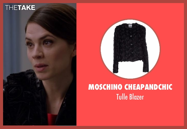 Moschino Cheapandchic black blazer from Conviction seen with Hayes Morrison (Hayley Atwell)
