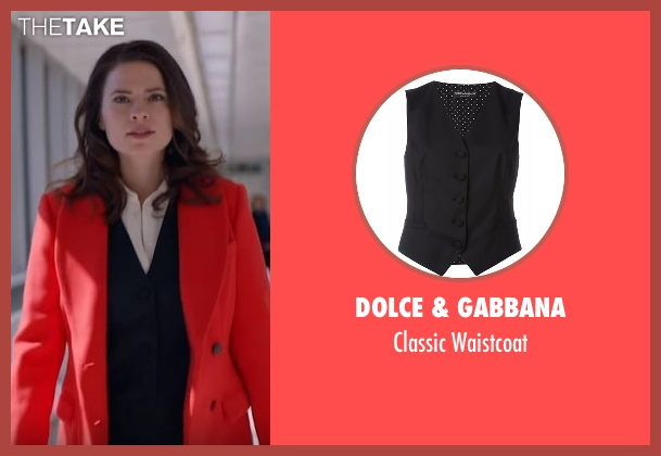 Dolce & Gabbana black waistcoat from Conviction seen with Hayes Morrison (Hayley Atwell)