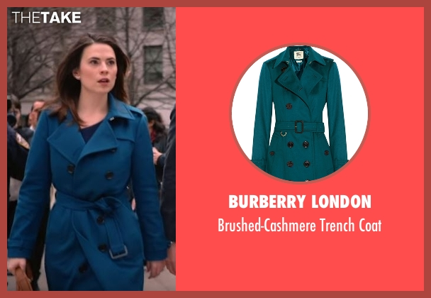 Burberry London blue coat from Conviction seen with Hayes Morrison (Hayley Atwell)
