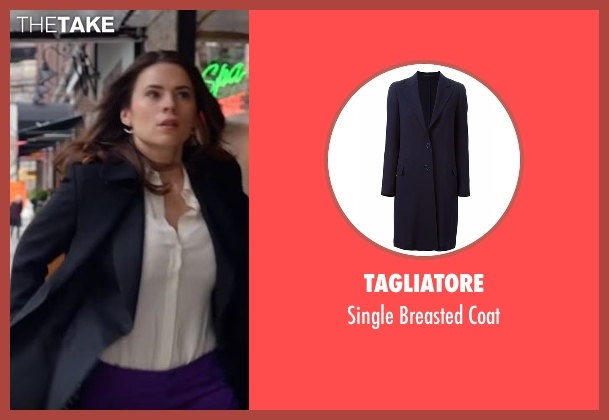 Tagliatore blue coat from Conviction seen with Hayes Morrison (Hayley Atwell)