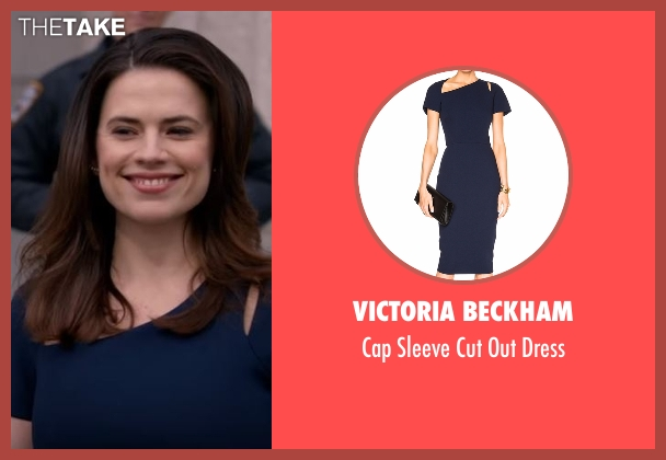 Victoria Beckham blue dress from Conviction seen with Hayes Morrison (Hayley Atwell)