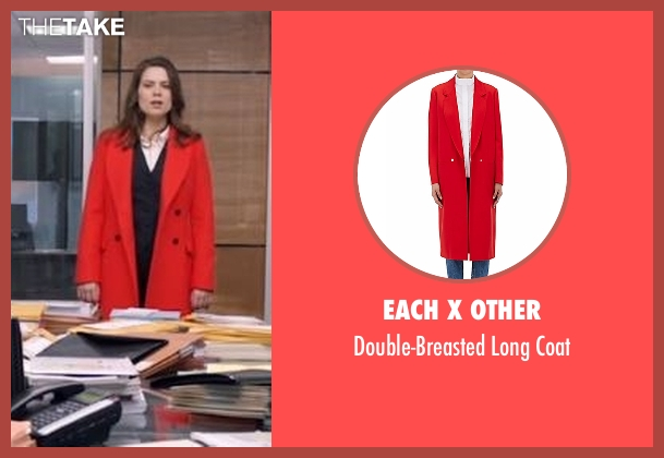 Each X Other red coat from Conviction seen with Hayes Morrison (Hayley Atwell)