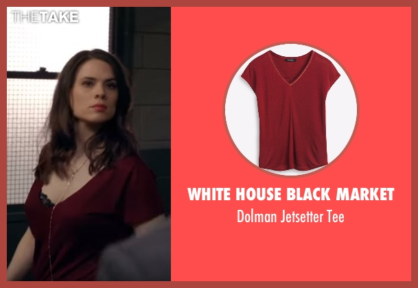 White House Black Market red tee from Conviction seen with Hayes Morrison (Hayley Atwell)