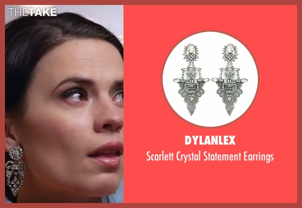 Dylanlex silver earrings from Conviction seen with Hayes Morrison (Hayley Atwell)