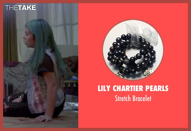 Lily Chartier Pearls black bracelet from Jem and the Holograms seen with Hayley Kiyoko (Aja)