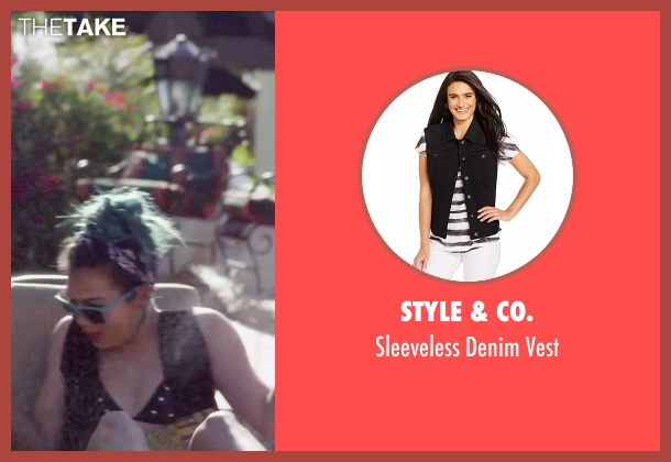 Style & Co. black vest from Jem and the Holograms seen with Hayley Kiyoko (Aja)