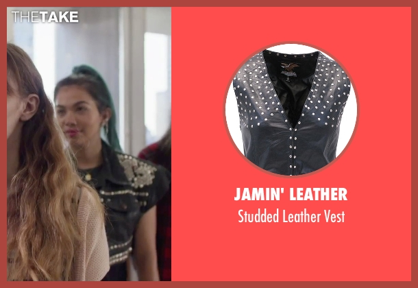 Jamin' Leather black vest from Jem and the Holograms seen with Hayley Kiyoko (Aja)