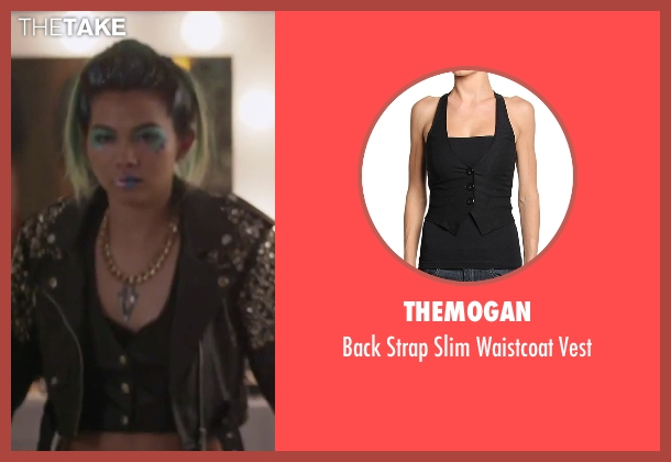 TheMogan black vest from Jem and the Holograms seen with Hayley Kiyoko (Aja)