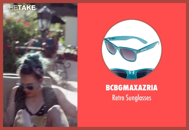 BCBGMAXAZRIA blue sunglasses from Jem and the Holograms seen with Hayley Kiyoko (Aja)