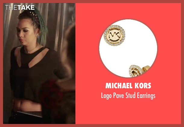 Michael Kors gold earrings from Jem and the Holograms seen with Hayley Kiyoko (Aja)