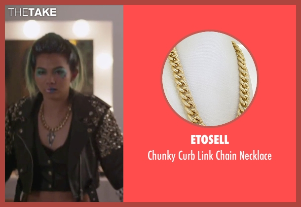 Etosell gold necklace from Jem and the Holograms seen with Hayley Kiyoko (Aja)