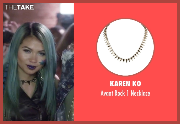 Karen Ko gold necklace from Jem and the Holograms seen with Hayley Kiyoko (Aja)
