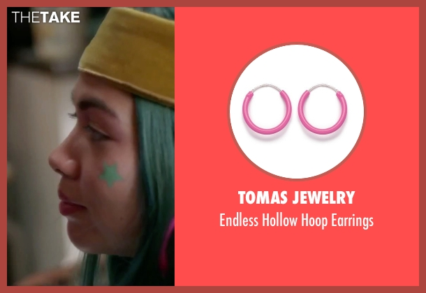Tomas Jewelry pink earrings from Jem and the Holograms seen with Hayley Kiyoko (Aja)