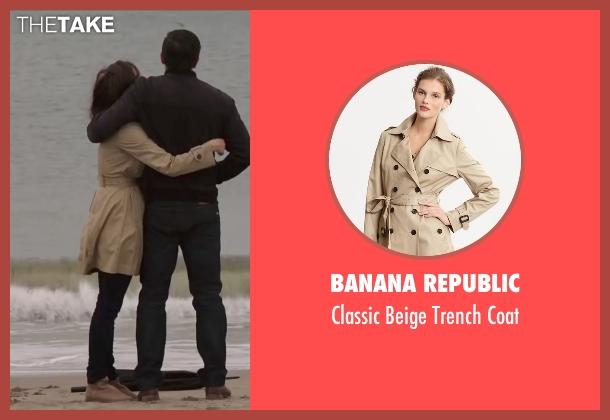 Banana Republic beige coat from Demolition seen with Heather Lind (Julia)