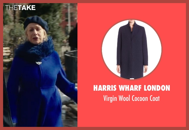 Harris Wharf London blue coat from Collateral Beauty seen with Helen Mirren (Brigitte)