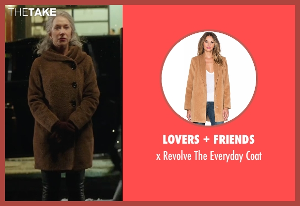 Lovers + Friends brown coat from Collateral Beauty seen with Helen Mirren (Brigitte)