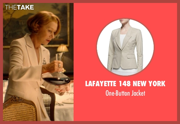 Lafayette 148 New York beige jacket from The Hundred-Foot Journey seen with Helen Mirren (Madame Mallory)