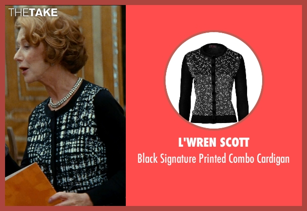 L'Wren Scott black cardigan from The Hundred-Foot Journey seen with Helen Mirren (Madame Mallory)
