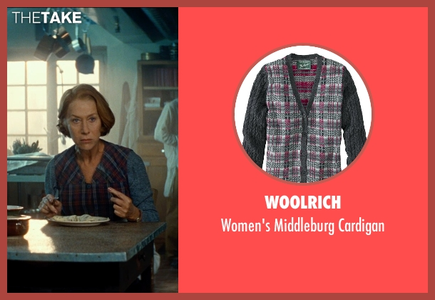 Woolrich cardigan from The Hundred-Foot Journey seen with Helen Mirren (Madame Mallory)
