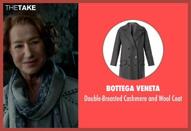 Bottega Veneta gray coat from The Hundred-Foot Journey seen with Helen Mirren (Madame Mallory)
