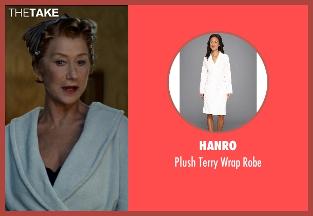 Hanro white robe from The Hundred-Foot Journey seen with Helen Mirren (Madame Mallory)