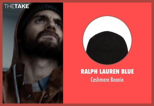 Ralph Lauren Blue black beanie from Man of Steel seen with Henry Cavill (Clark Kent / Superman)