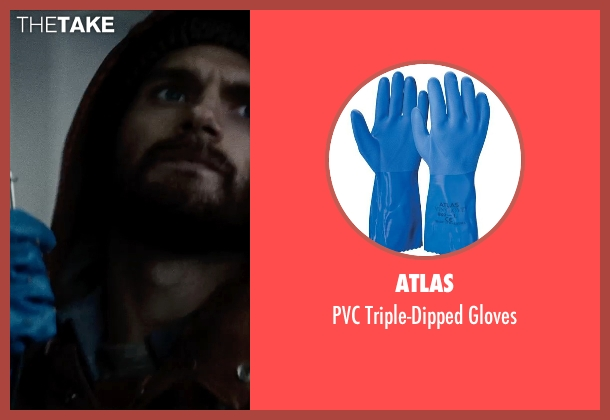 Atlas blue gloves from Man of Steel seen with Henry Cavill (Clark Kent / Superman)