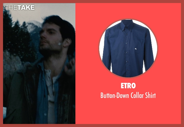 Etro blue shirt from Man of Steel seen with Henry Cavill (Clark Kent / Superman)