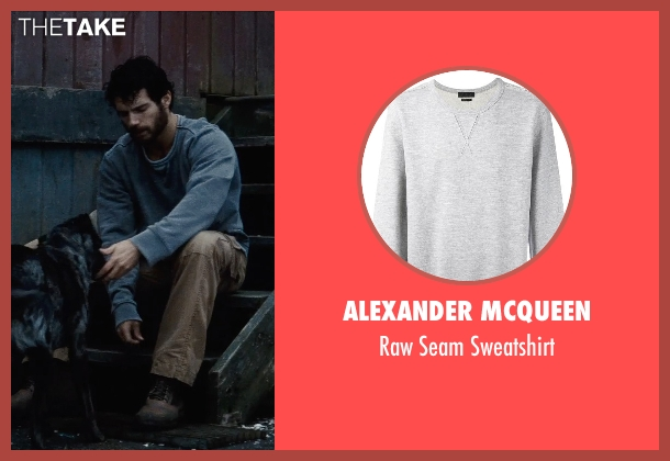 Alexander McQueen gray sweatshirt from Man of Steel seen with Henry Cavill (Clark Kent / Superman)