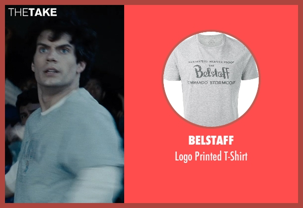 Belstaff gray t-shirt from Man of Steel seen with Henry Cavill (Clark Kent / Superman)