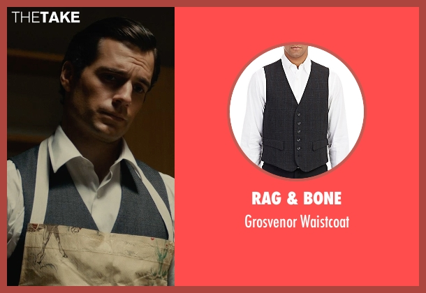 Rag & Bone black waistcoat from The Man from U.N.C.L.E. seen with Henry Cavill (Napoleon Solo)