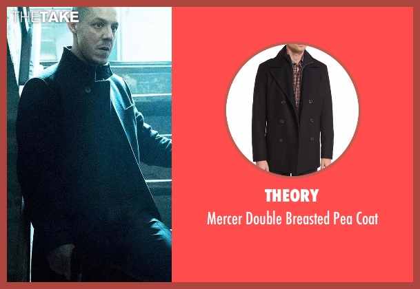 Theory black coat from Marvel's Luke Cage seen with Hernan 'Shades' Alvarez (Theo Rossi)