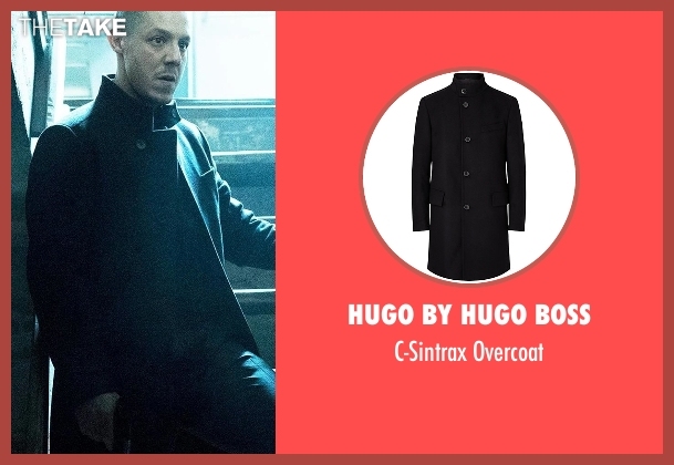 Hugo By Hugo Boss black overcoat from Marvel's Luke Cage seen with Hernan 'Shades' Alvarez (Theo Rossi)