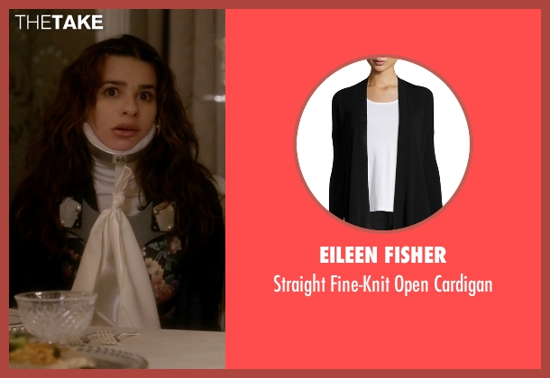 Eileen Fisher black cardigan from Scream Queens seen with Hester (Lea Michele)