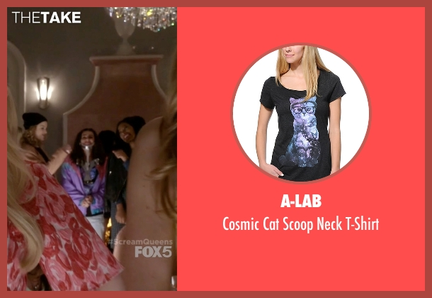 A-Lab black t-shirt from Scream Queens seen with Hester (Lea Michele)
