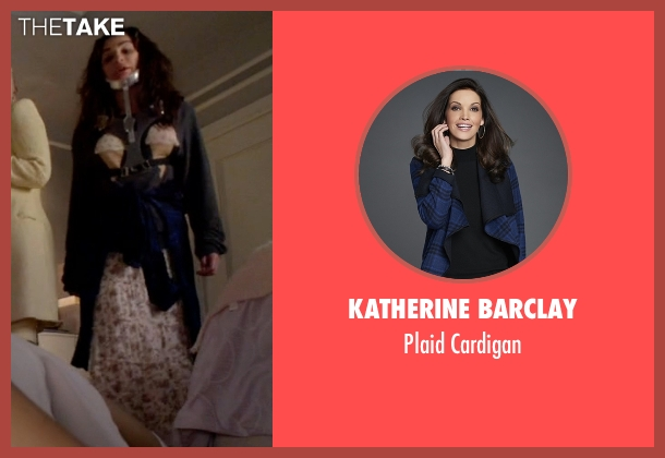 Katherine Barclay blue cardigan from Scream Queens seen with Hester (Lea Michele)