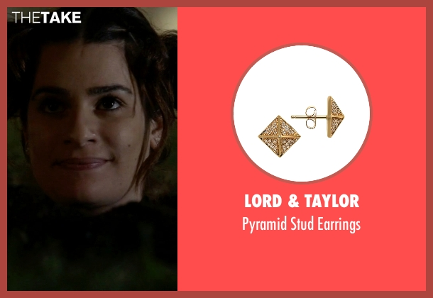 Lord & Taylor gold earrings from Scream Queens seen with Hester (Lea Michele)
