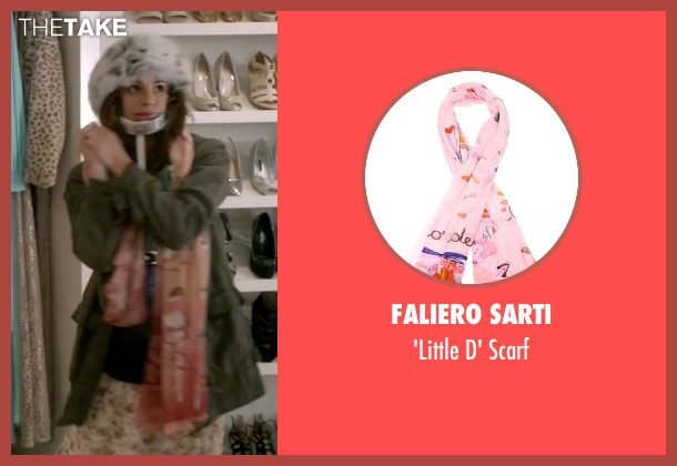 Faliero Sarti pink scarf from Scream Queens seen with Hester (Lea Michele)