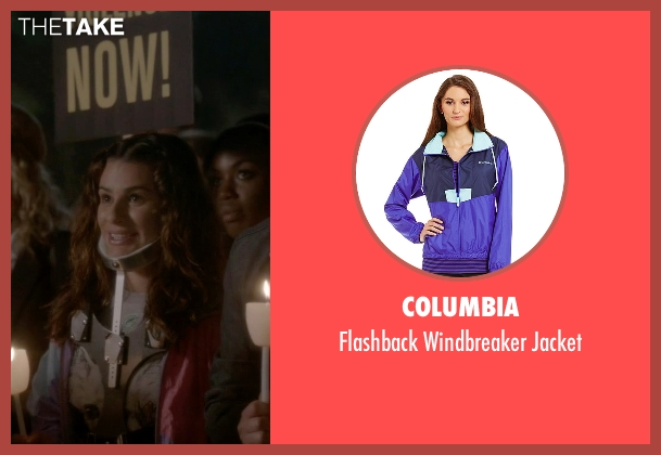 Columbia purple jacket from Scream Queens seen with Hester (Lea Michele)