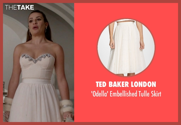 Ted Baker London white skirt from Scream Queens seen with Hester (Lea Michele)