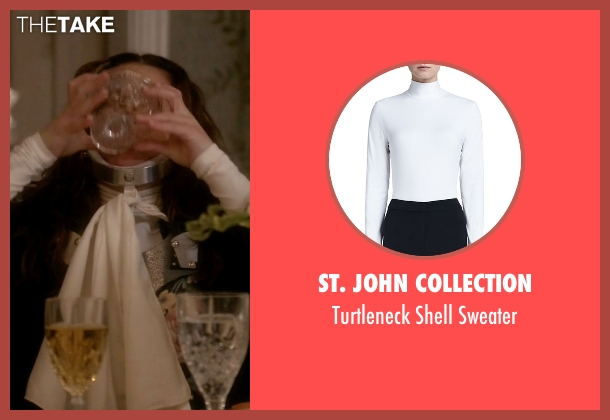 St. John Collection white sweater from Scream Queens seen with Hester (Lea Michele)