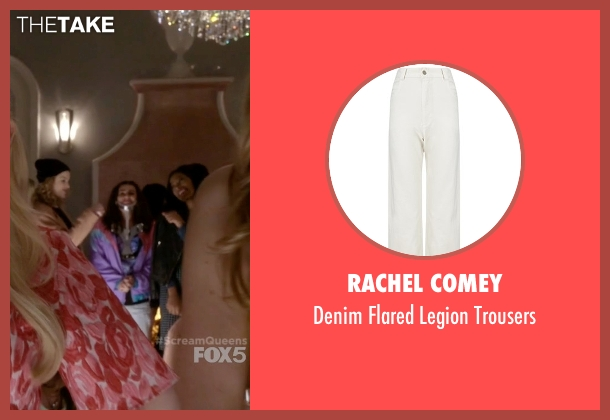 Rachel Comey white trousers from Scream Queens seen with Hester (Lea Michele)