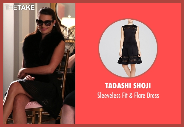 Tadashi Shoji black dress from Scream Queens seen with Hester Ulrich (Lea Michele)