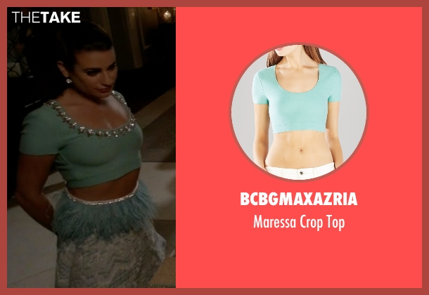BCBGMAXAZRIA blue top from Scream Queens seen with Hester Ulrich (Lea Michele)