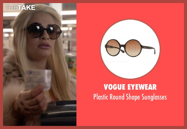Vogue Eyewear brown sunglasses from Scream Queens seen with Hester Ulrich (Lea Michele)